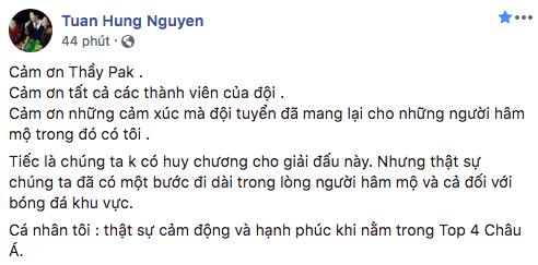 Tuấn Hưng hạnh phúc khi Việt Nam nằm trong Top 4 đội bóng nam mạnh nhất châu Á.