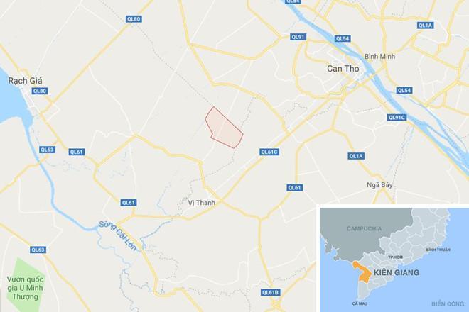 Xã Hòa Lợi (màu đỏ) ở Kiên Giang. Ảnh: Google Maps.
