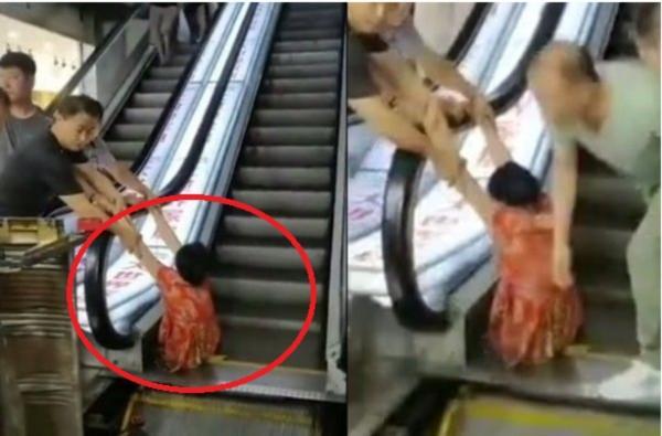 Người phụ nữ bị thang cuốn nuốt trọn cả hai chân.