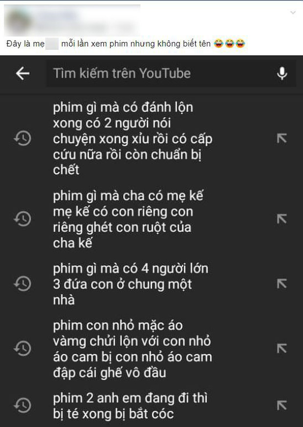 Đăng tải một bức ảnh chụp màn hình lịch sử tìm kiếm trên Youtube trên điện thoại của mẹ mình, C.H. tiết lộ: