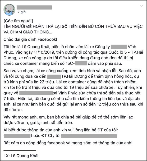 Bài đăng của tài xế Khải được chia sẻ rầm rộ trên FB - Ảnh chụp màn hình.