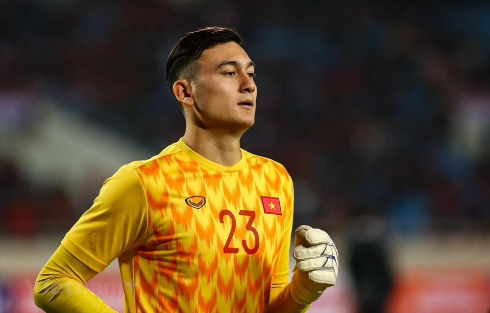 Thủ môn Đặng Văn Lâm tự tin về khả năng đi tiếp của tuyển Việt Nam tại vòng loại World Cup 2022. (Ảnh: Nguyên An/Vietnam+)