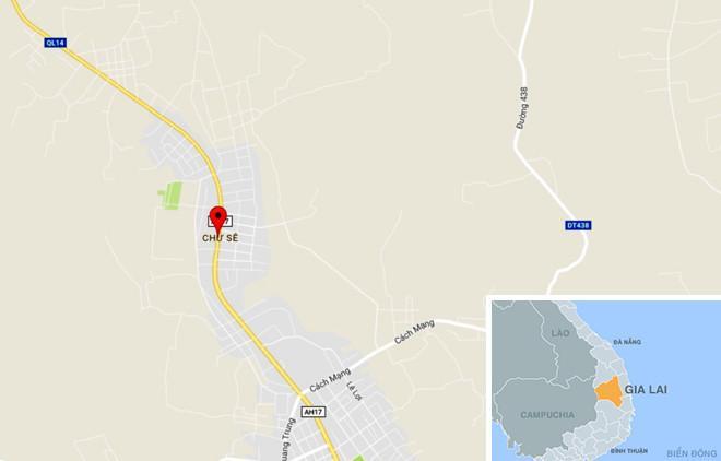 Quốc lộ 14 qua thị trấn Chư Sê, huyện Chư Sê (Gia Lai), nơi xảy ra vụ tai nạn thảm khốc. Ảnh: Thiên Sơn.