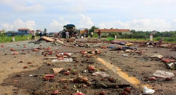 Vị trí xảy ra tai nạn được xác định qua đoạn thôn An Lạc Đông 2, thị trấn Phù Mỹ (huyện Phù Mỹ, Bình Định). Ảnh: Tri thức trực tuyến