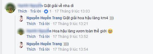 Đây là câu trả lời dí dóm khi cháu động viên Huyền Trang giành giải Hoa hậu Hoàn Vũ Việt Nam 2017.