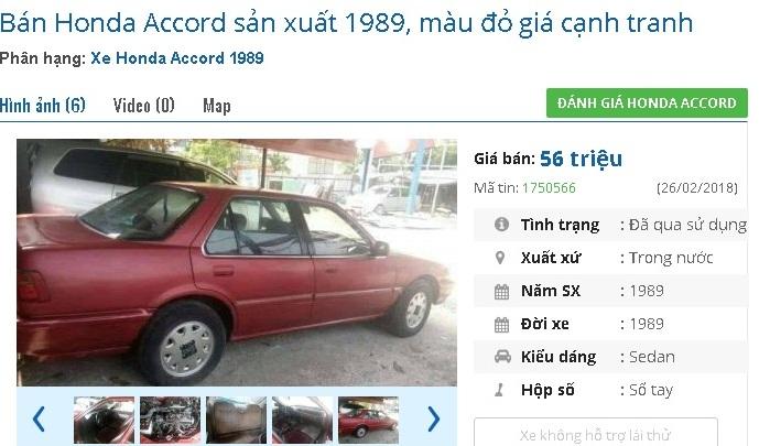 Chiếc Honda Accord màu đỏ, sản xuất năm 1989 này đang được rao bán giá 56 triệu đồng. Xe của một chủ nhân ở Biên Hòa, Đồng Nai.