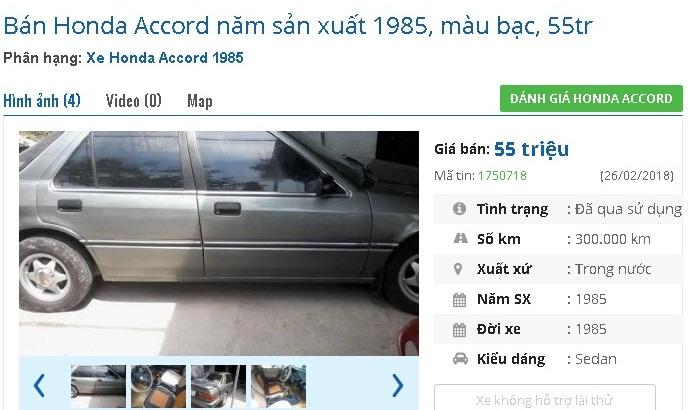 Một chiếc Honda Accord màu bạc, sản xuất 1985 đang được rao bán giá 55 triệu đồngtại chợ xe online. Theo người bán, xe sử dụng động cơ 1600cc, 4 vỏ xe mới, máy lạnh, mới đăng kiểm tháng 2/2018.