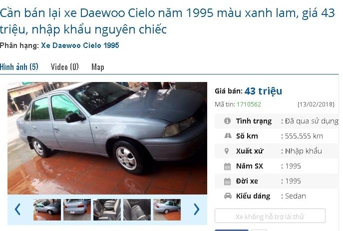 Với 43 triệu đồng, bạn có thể sở hữu chiếc Daewoo Cielo đời 1995 màu xanhlam,nhập khẩu nguyên chiếc này.
