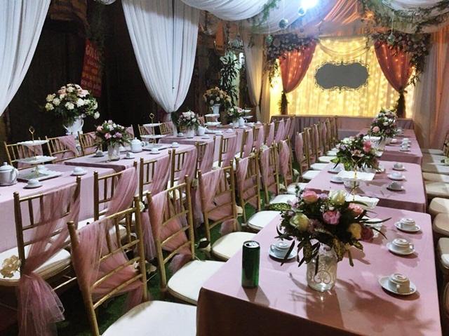 Một góc tiếc cưới được trang trícùngtông màu (Ảnh nhân vật cung cấp).