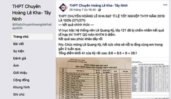 Fanpage của Trường THPT chuyên Hoàng Lê Kha chúc mừng Lê Quang Kỳ sau khi có điểm phúc khảo