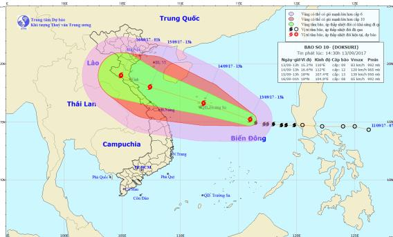 Cơn bão số 10 sẽ là cơn bão mạnh nhất đổ bộ nước ta từ đầu năm. Ảnh: TTDBKTTVTW