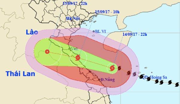 Từ trưa, chiều mai, vùng có gió mạnh cấp 10-12 mở rộng khắp từ Nghệ An - Quảng Trị