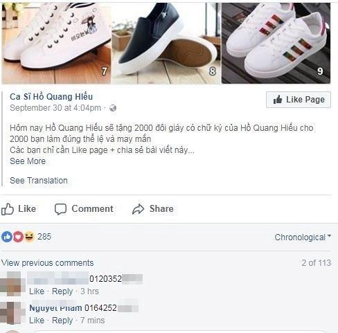 Fanpage mạo danh Cường Dollar chia sẻ post của Hồ Quang Hiếu, mời mọi người nhận giày tặng free - một cách làm tương tự nhằm câu like nhưng tinh vi hơn, khi nó được xây dựng thành cả một hệ thống page mạo danh người nổi tiếng và share thông tin cho nhau nhằm đánh lừa người dùng mạng.
