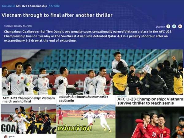 Các trang báo Đông Nam Á, trong đó có cả báo Thái Lan hết lời khen ngợi và kêu gọi ủng hộ U-23 Việt Nam.