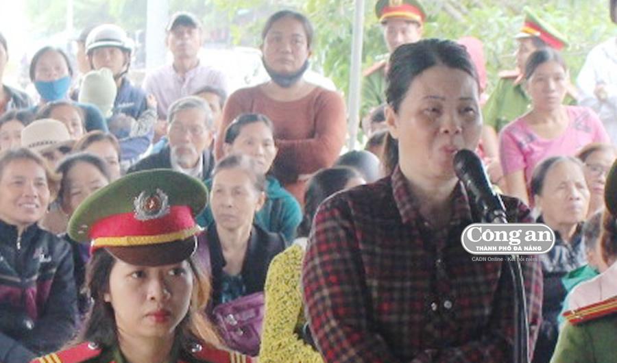 Bị cáo Mỹ Hương khai báo tại phiên xét xử.