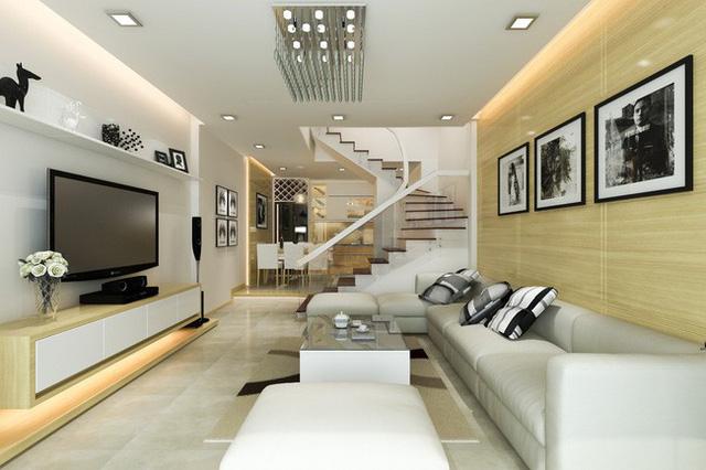 Không gian phòng khách ấm cúng với điểm nhấn là màu gỗ sồi.