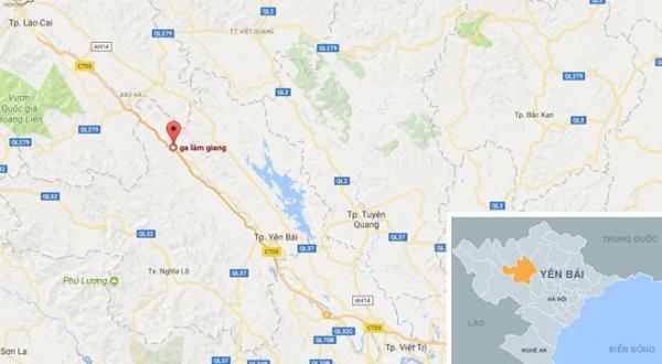 Ga Lâm Giang (chấm đỏ) nơi xảy ra vụ việc cách TP Yên Bái hơn 60km. Ảnh: Google Maps.
