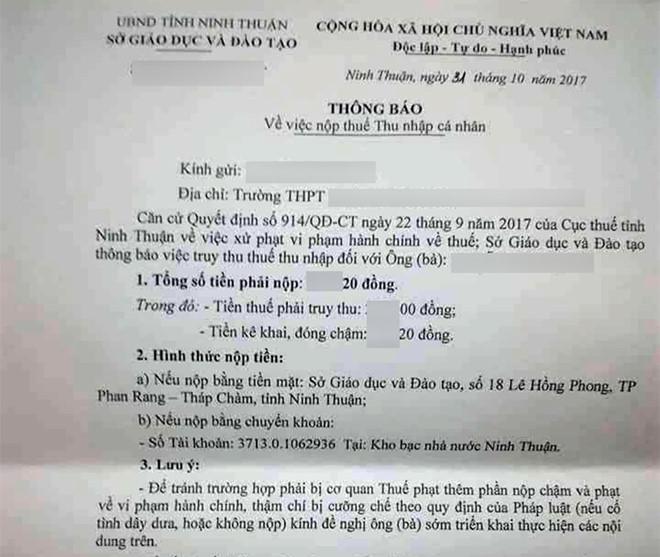 Thông báo nộp thuế với văn từ gay gắt của Sở GD&ĐT Ninh Thuận. Ảnh: Tuấn Kiệt.