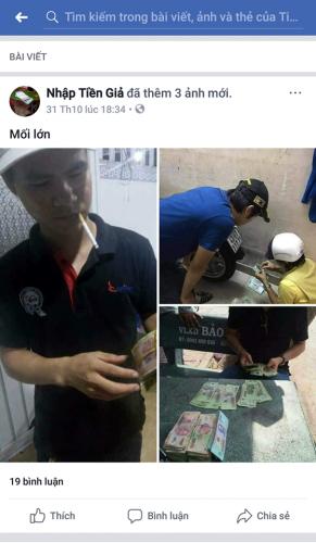 Tiền giả được mua bán công khai trên mạng xã hội FB. (Ảnh chụp màn hình).