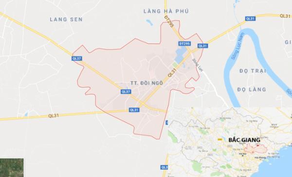 Thị trấn Đồi Ngô (màu hồng) nơi xảy ra vụ tai nạn trên. Ảnh: Google Maps.
