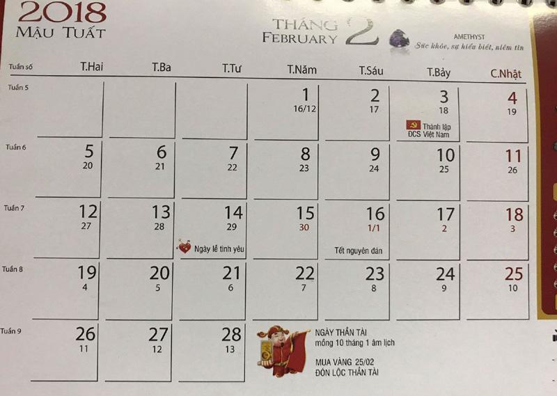 Năm 2018, ngày vía Thần Tài sẽ rơi vào chủ nhật ngày 25/2 dương lịch.