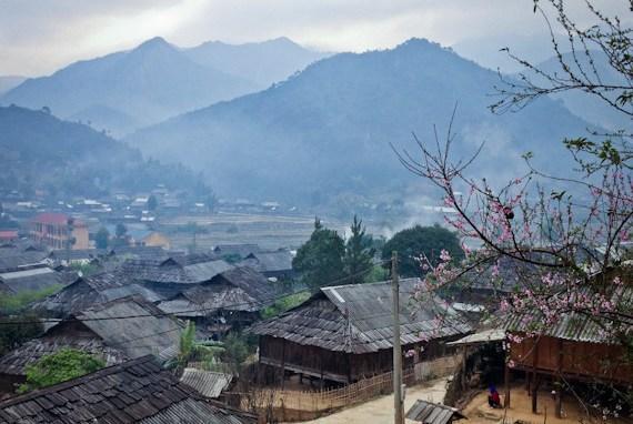 Xã Ngọc Chiến được coi như miền đất cổ tích với hàng trăm nóc nhà làm bằng gỗ pơ mu. Ảnh: Zing.vn