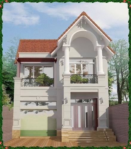 Nhà 2 tầng hiện đại có thiết kế gara để xe. Cột nhà trụ vuông ở tầng 1 kết hợp trụ tròn ở tầng 2 hài hòa. Ảnh: Nhadepsang.