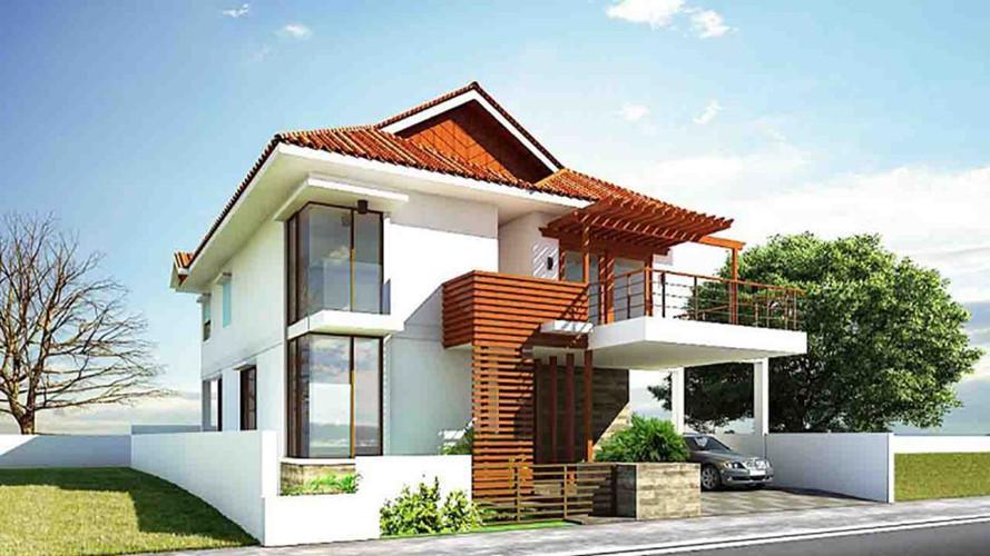Mẫu nhà mái thái nông thôn là sự kết hợp hài hòa kiểu dáng thiết kế hiện đại với phong cách mới thân thiện thiên nhiên. Ảnh: Nhadepsang.