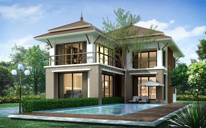 Nhà 2 tầng mái thái hiện đại có hồ bơi rộng rãi trước nhà. Ảnh: Nhadepsang.
