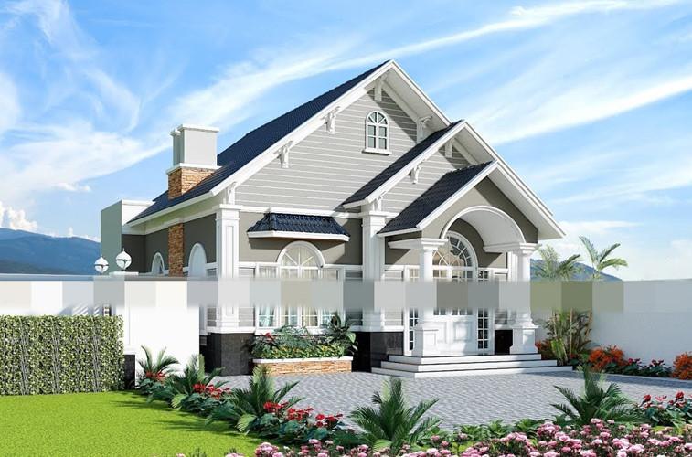 Biệt thự mini mái thái kiến trúc tân cổ điển đẹp hút mắt. Ảnh: Youtube.