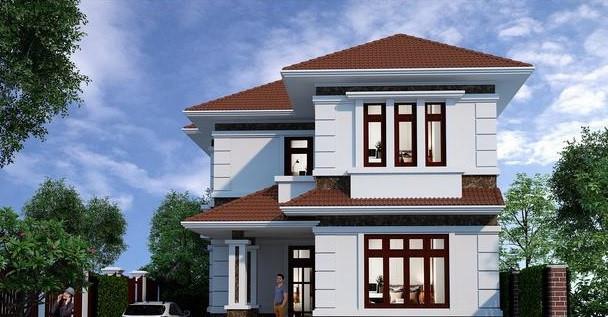 Trên diện tích biệt thự mini 100m2 nổi bật với màu tường trắng sữa kết hợp với mái ngói màu nâu đỏ. Ảnh: Thietenhadepmoi.
