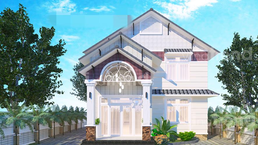 Biệt thự 2 tầng mái thái đẹp thanh lịch với gam màu trắng sáng. Ảnh: Vinatrends.