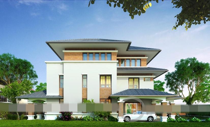 Biệt thự mini 3 tầng tận dụng khoảng sân hay ban công để điểm xuyết sắc xanh. Ảnh: Thietkekentruc.