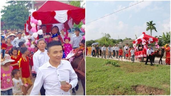 Rất đông mọi người hiếu kì đi theo đoàn rước dâu của vợ chồng Quang Hội - Hồng Mai. Ảnh: NVCC.