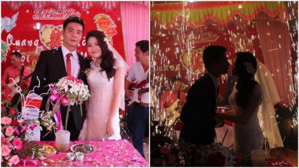 Quang Hội - Hồng Mai hạnh phúc trong ngày vui trọng đại. Ảnh: NVCC.