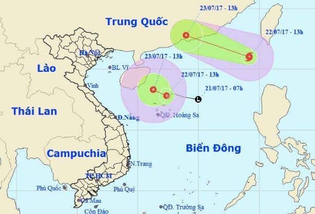 Trên biển Đông đang xuất hiện cùng lúc cả bão số 3 và áp thấp nhiệt đới