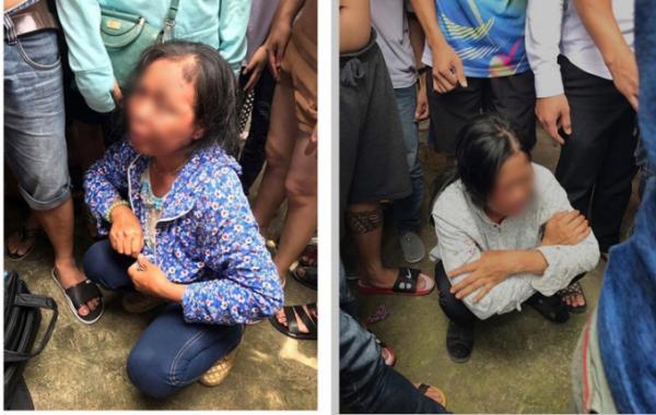 Hai người phụ nữ nghi bắt cóc trẻ em bị người dân bắt giữ.