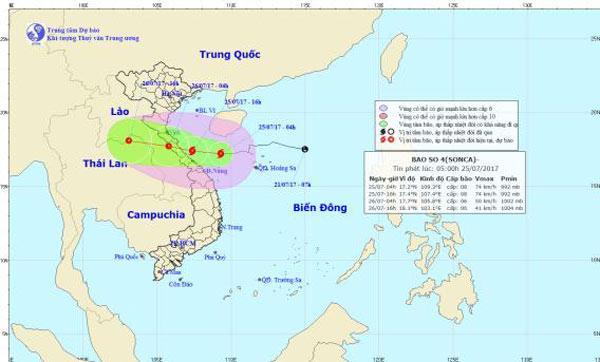 Bão số 4 đang di chuyển về đất liền Hà Tĩnh - Quảng Trị