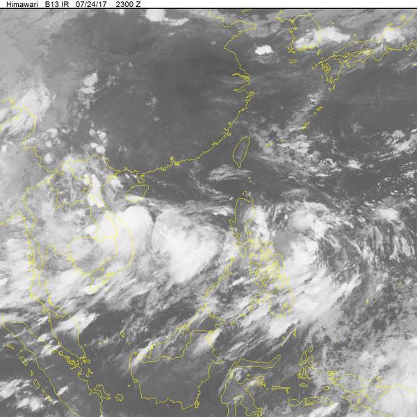 Bão số 4 trên hình ảnh mây vệ tinh