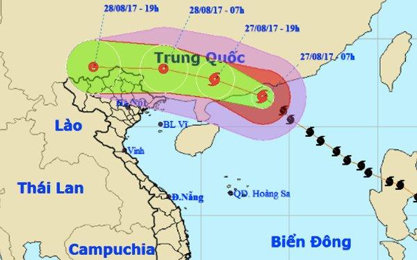 Bão số 7 không gây gió mạnh cho nước ta nhưng gây mưa lớn cho khắp Bắc Bộ vào đến Bắc Trung Bộ