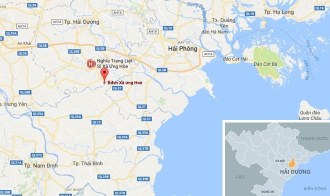 Xã Ứng Hòe (chấm đỏ) nơi xảy ra vụ việc. Ảnh: Google Maps.