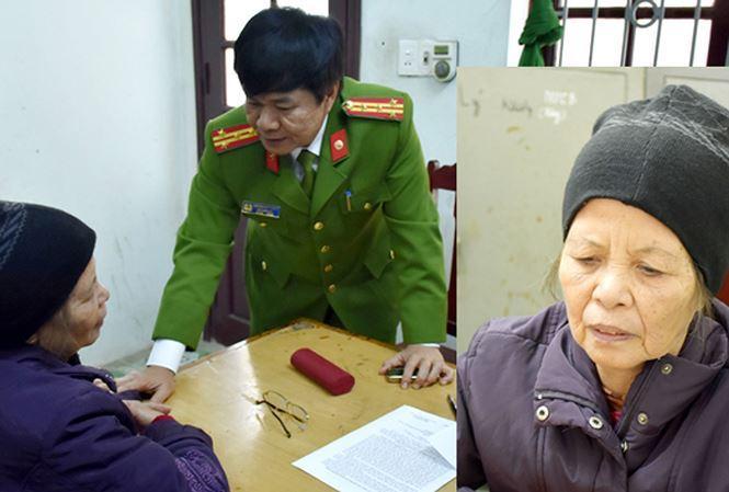 Bà Phạm Thị Xuân tại cơ quan công an.