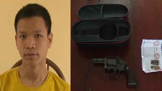Nguyễn Đức Mạnh cùng tang vật vụ án