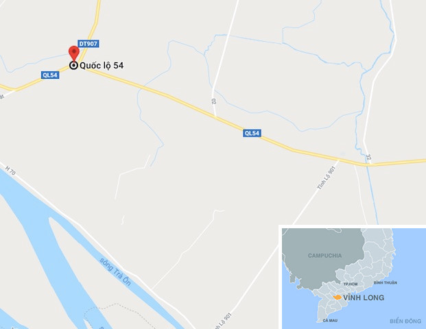 Tỉnh lộ 907 giao nhau với quốc lộ 54, nơi nạn nhân bị khống chế cướp tài sản. Ảnh: Google Maps.