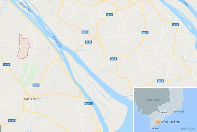 Xã Kế Thành (màu đỏ) ở Sóc Trăng. Ảnh: Google Maps.