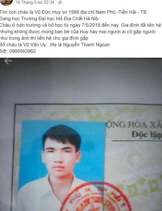 Thông tin đăng tải trên một fanpage đưa tin tìm nam sinh mất tích. Ảnh chụp màn hình