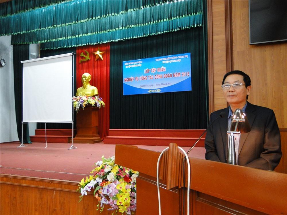 Phó Bí thư Thường trực Huyện uỷ Quỳnh Phụ (Thái Bình) Vũ Văn Liệu phát biểu tại lớp tập huấn.