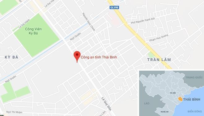 Trụ sở công an tỉnh Thái Bình, nơi xảy ra vụ việc. Ảnh: Google Maps.
