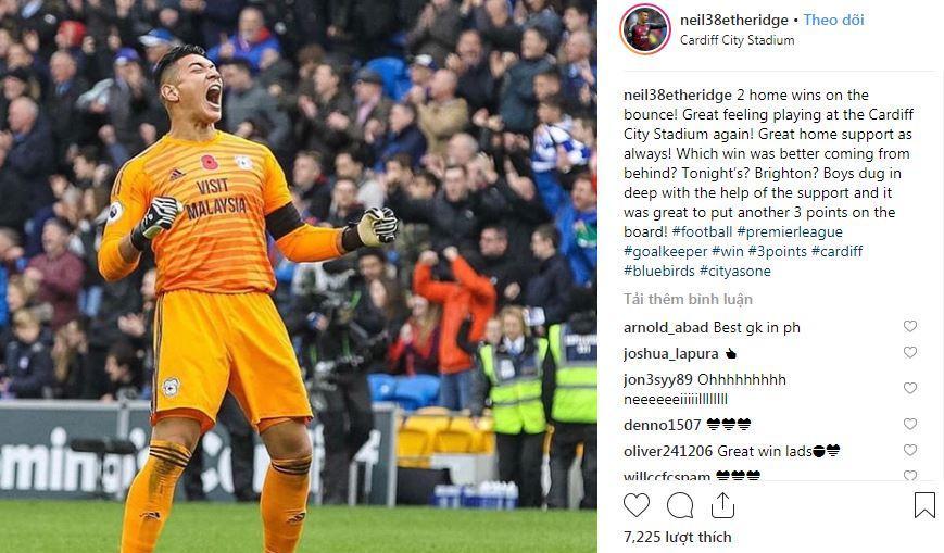 Etheridge đang phấn khích với thành tích của Cardiff ở Ngoại Hạng Anh và nhiều khả năng, sẽ không quay về tuyển Philippines để giúp đỡ thầy trò HLV Eriksson trong trận đấu với Việt Nam.