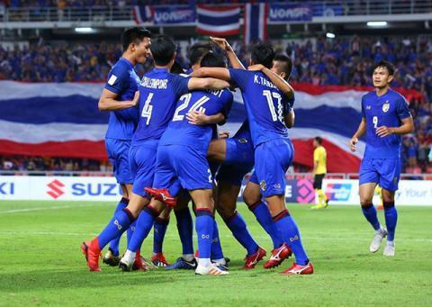 Các cầu thủ Thái Lan ăn mừng bàn thắng mở tỉ số